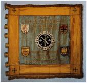 Vaandel van de groep geheelonthouders, Heilige Johannes de Doper. Drankbestrijding opgericht in 1917. Het origineel bevindt zich in 'Het Nederlands Textielmuseum'.