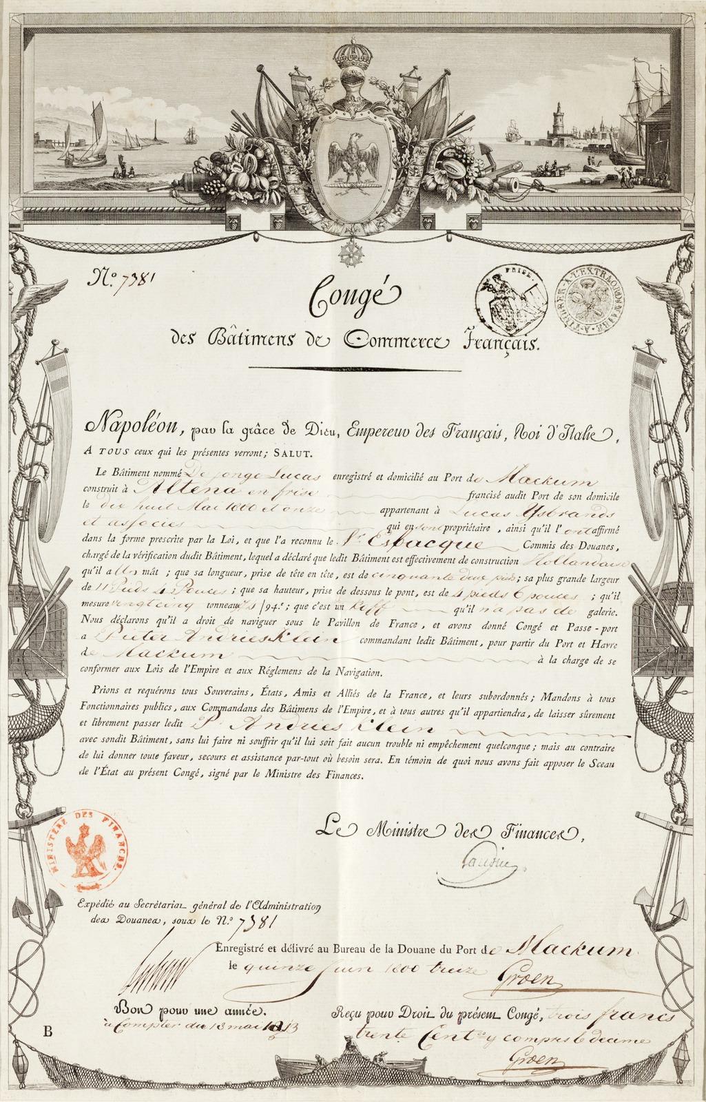 Congé des Bâtiments de Commerce Français ... Enregistré et délivré au Bureau de la Douane du Port de Mackum le quinze Juin 1800 treize 8 juni 1813 getekend door, Groen.