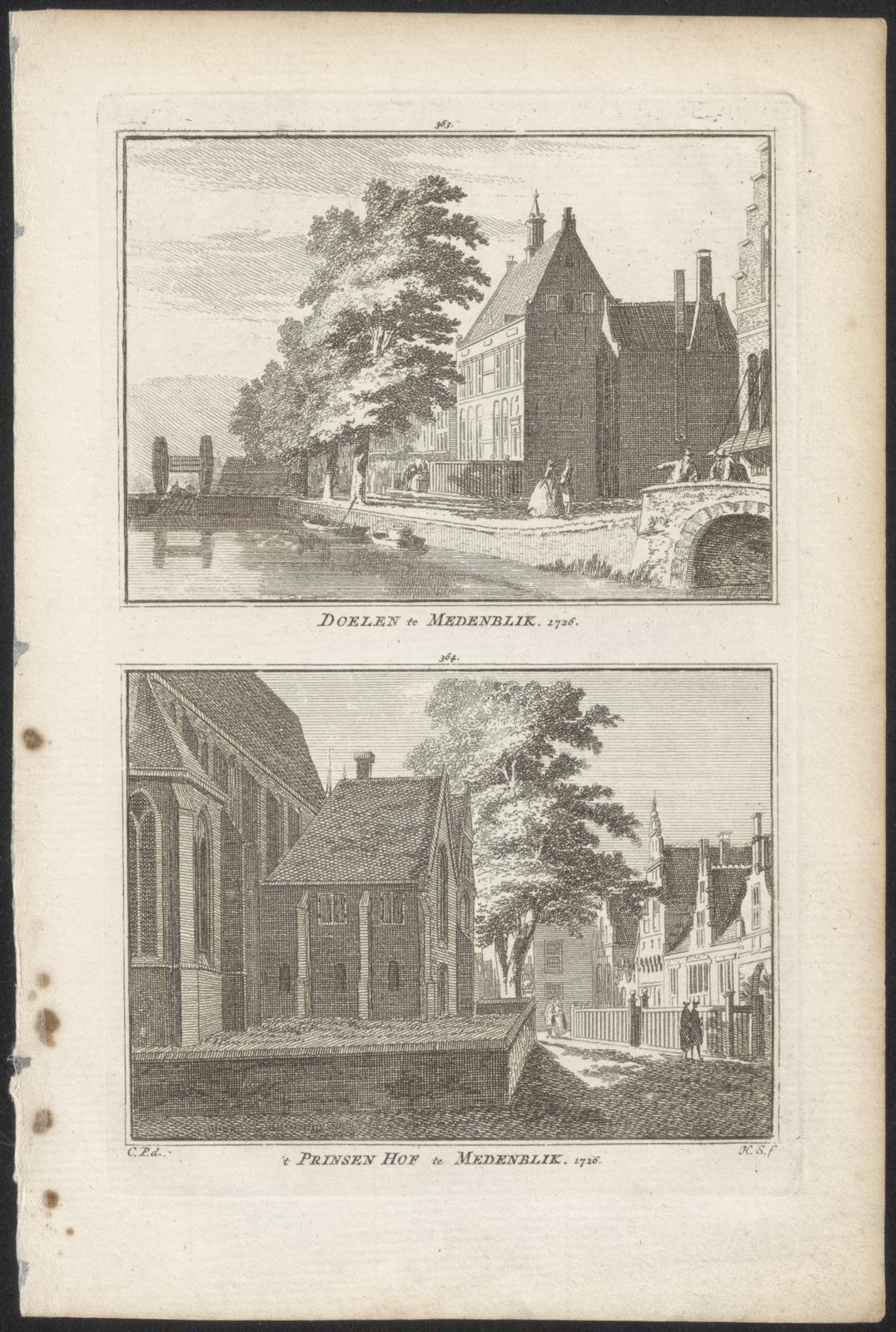 Doelen te Medenblik 1726. 't Prinsenhof te Medenblik 1726.