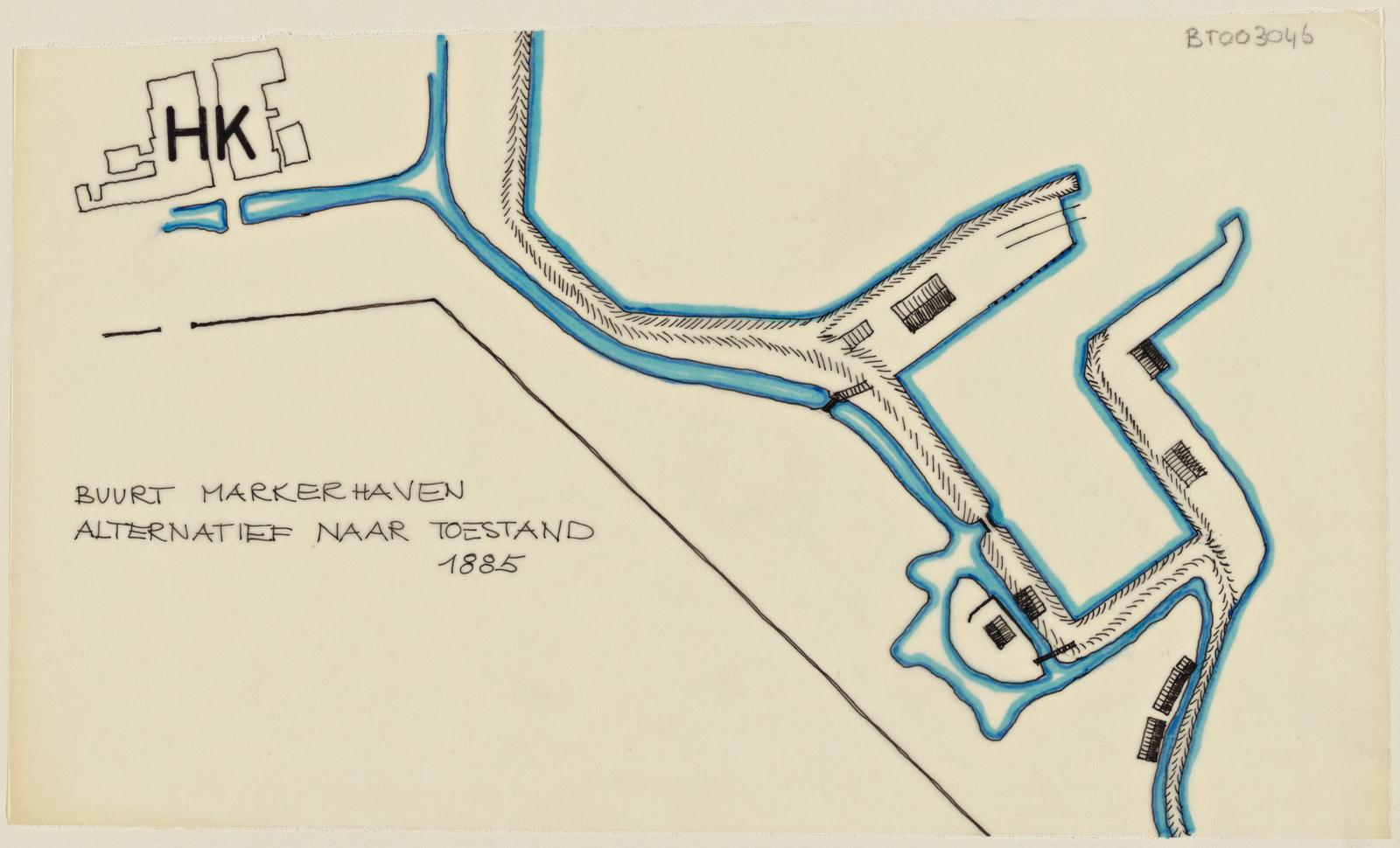 Ontwerpschets, buurt Markerhaven, alternatief na toestand 1885