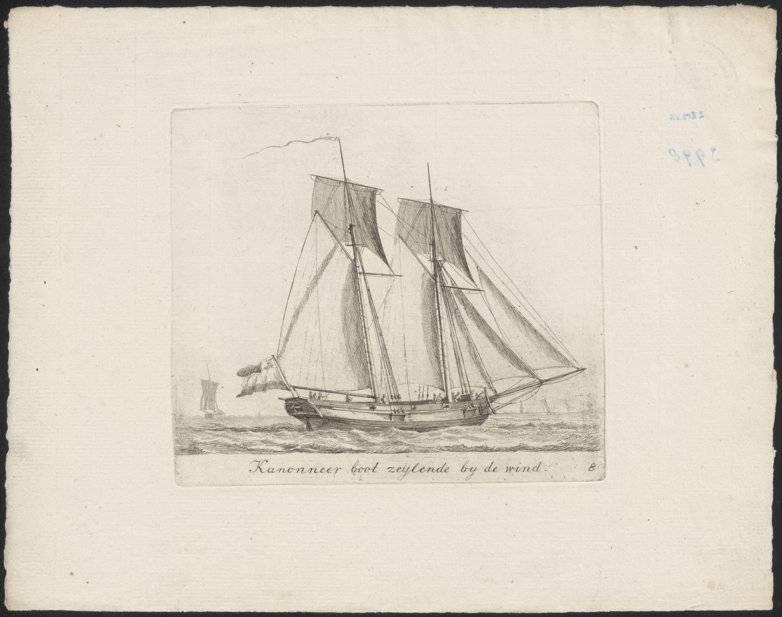 Kanonneer boot zeijende by de wind