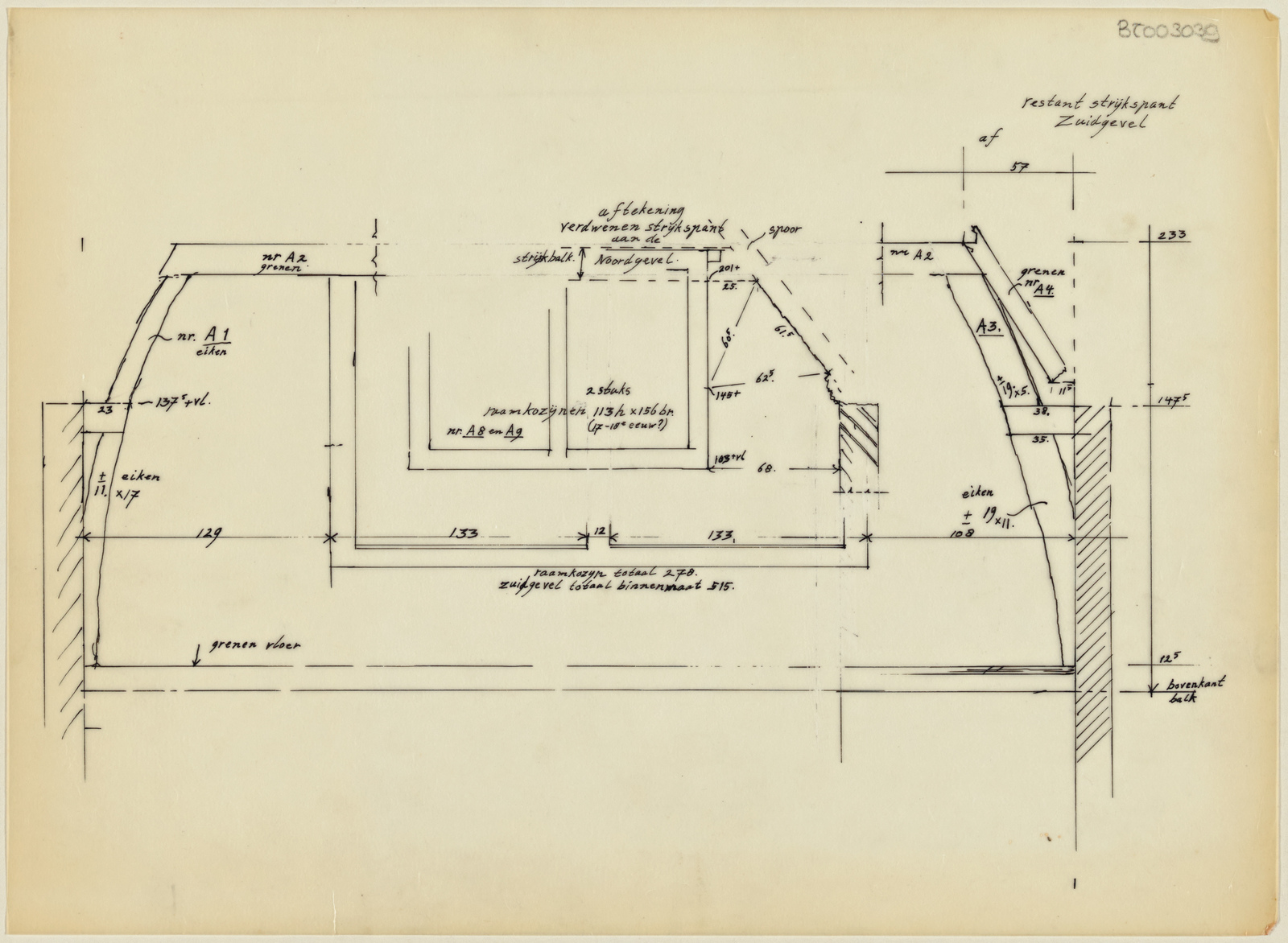 Schets restant strijkspant Zuidgevel, onbekend pand