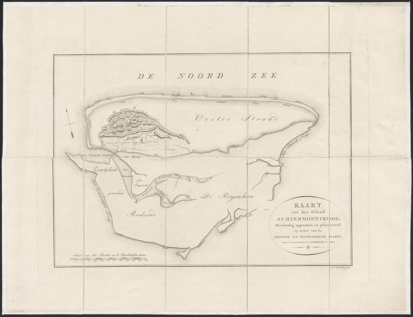 Kaart van het eiland Schiermonnikoog