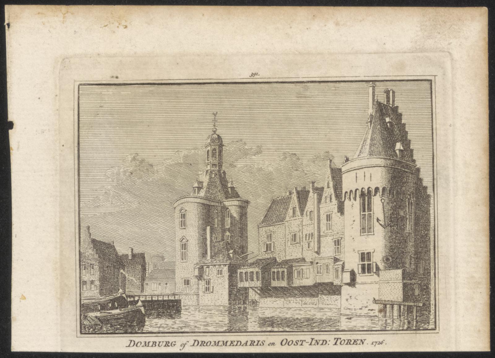 Domburg of Drommedaris en Oost-Ind toren 1726.