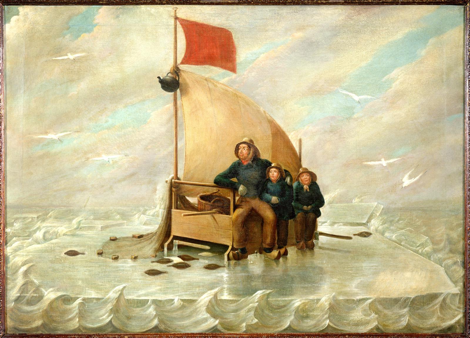 Klaas Bording en zijn beide zoons op een ijsschots