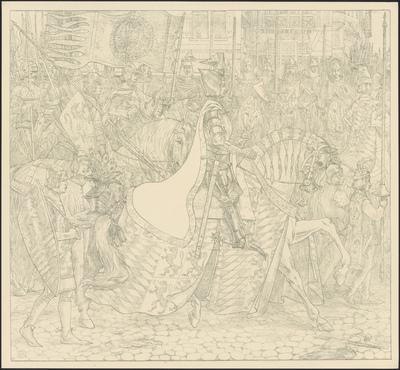 Hertog Aelbrecht met zijne schildknapen en pages, rijdend langs zijne Hollandsche en Zeeuwsche ridders. Voor hem uit Jan van Borselen, zijn heraut, genaamd 'Vrieslant'. Hendrik van Naaldwijk, maarschalk van de graaf van Holland, draagt Aelbrecht's banier.