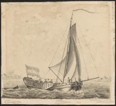 Een jacht met figuren voor de kust