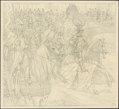 Albert II, heer van Straubing, stadhouder voor zijnen vader in de Beiersche landen, met de graven van Kleef, Mark en Westfalen, van Salm-Heinsberch, van Sayn, en eenige Duitsche edelen.