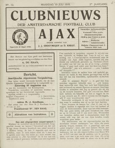 Clubnieuws Ajax (vanaf 1916) 1918-07-15