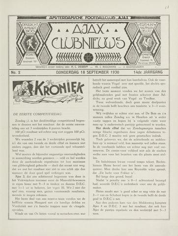 Clubnieuws Ajax (vanaf 1916) 1930-09-18