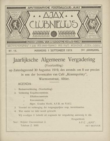 Clubnieuws Ajax (vanaf 1916) 1919-09-01