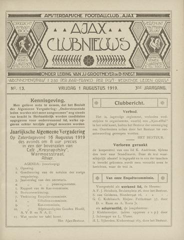 Clubnieuws Ajax (vanaf 1916) 1919-08-01