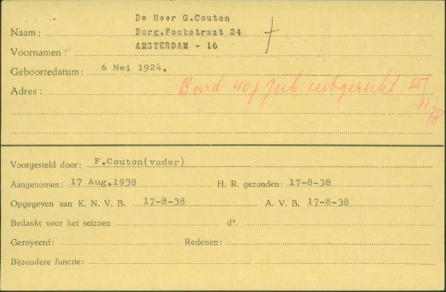 Ledenkaarten (1911-1989) 1938