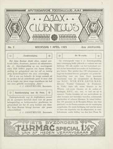 Clubnieuws Ajax (vanaf 1916) 1925-04-01