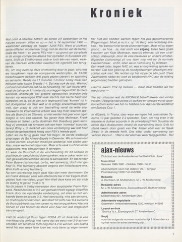 Clubnieuws Ajax (vanaf 1916) 1980-10-01