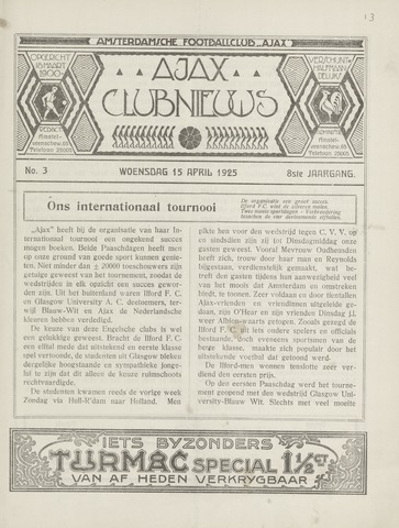 Clubnieuws Ajax (vanaf 1916) 1925-04-15