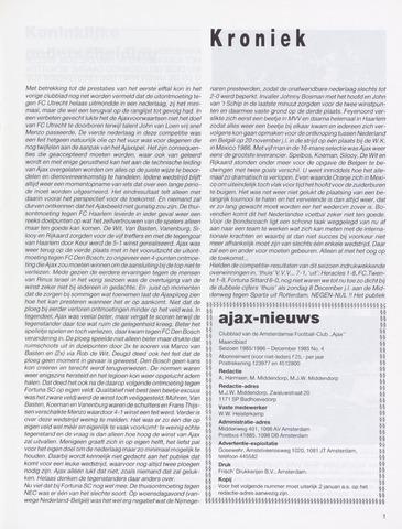 Clubnieuws Ajax (vanaf 1916) 1985-12-01
