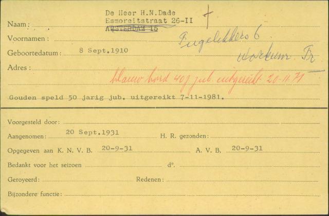 Ledenkaarten (1911-1989) 1931