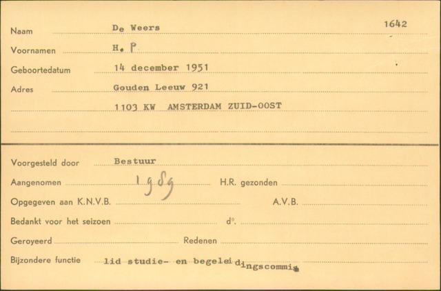 Ledenkaarten (1911-1989) 1989