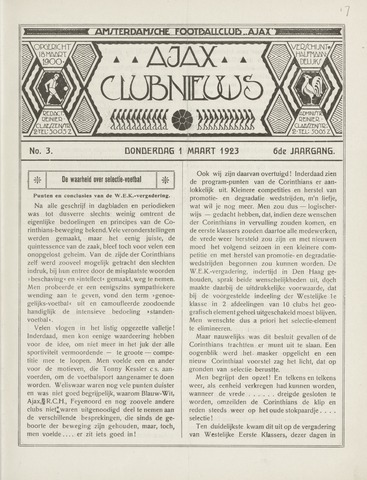 Clubnieuws Ajax (vanaf 1916) 1923-03-01