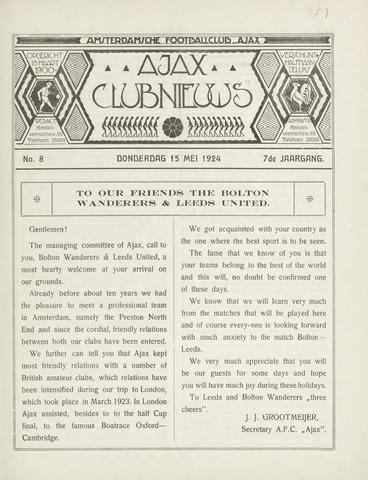 Clubnieuws Ajax (vanaf 1916) 1924-05-15
