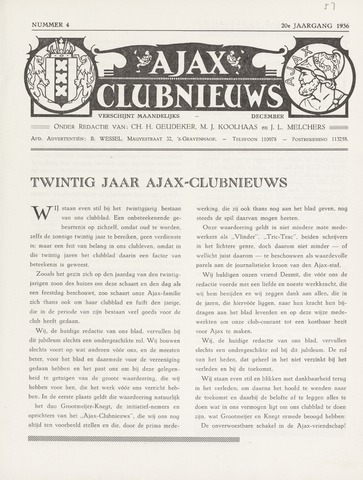 Clubnieuws Ajax (vanaf 1916) 1936-12-01