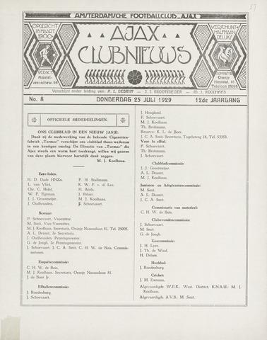 Clubnieuws Ajax (vanaf 1916) 1929-07-25