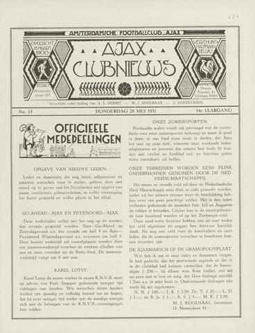 Clubnieuws Ajax (vanaf 1916) 1931-05-28