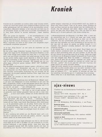 Clubnieuws Ajax (vanaf 1916) 1977-11-01