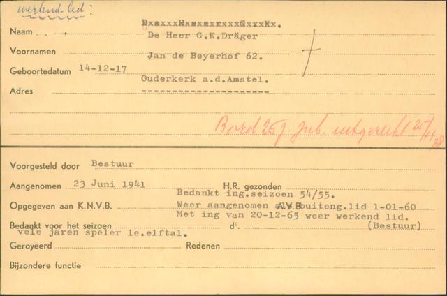 Ledenkaarten (1911-1989) 1941