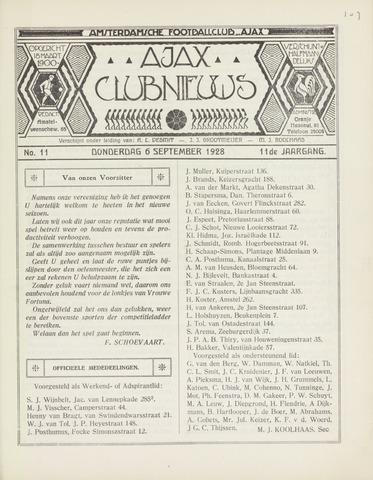 Clubnieuws Ajax (vanaf 1916) 1928-09-06