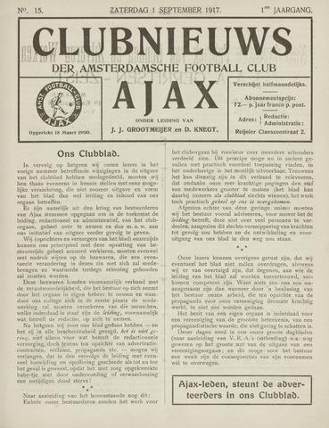 Clubnieuws Ajax (vanaf 1916) 1917-09-01