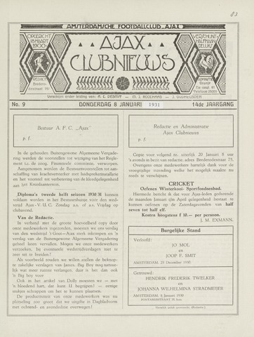 Clubnieuws Ajax (vanaf 1916) 1931-01-08