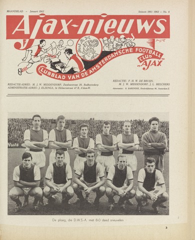 Clubnieuws Ajax (vanaf 1916) 1962
