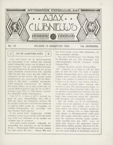 Clubnieuws Ajax (vanaf 1916) 1924-08-15