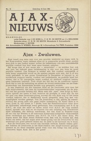 Clubnieuws Ajax (vanaf 1916) 1941-06-14