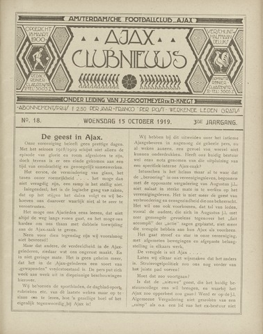 Clubnieuws Ajax (vanaf 1916) 1919-10-15
