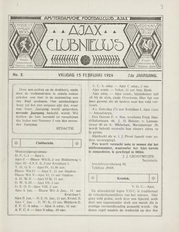 Clubnieuws Ajax (vanaf 1916) 1924-02-15