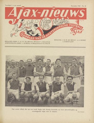 Clubnieuws Ajax (vanaf 1916) 1948-11-01