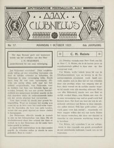 Clubnieuws Ajax (vanaf 1916) 1923-10-01