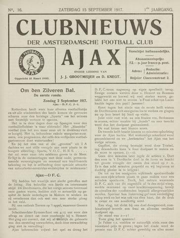 Clubnieuws Ajax (vanaf 1916) 1917-09-06