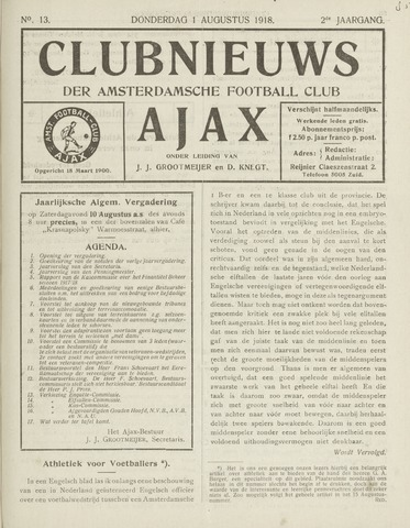 Clubnieuws Ajax (vanaf 1916) 1918-08-01