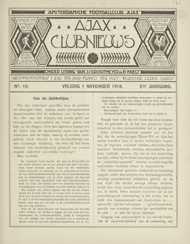 Clubnieuws Ajax (vanaf 1916) 1918-11-01