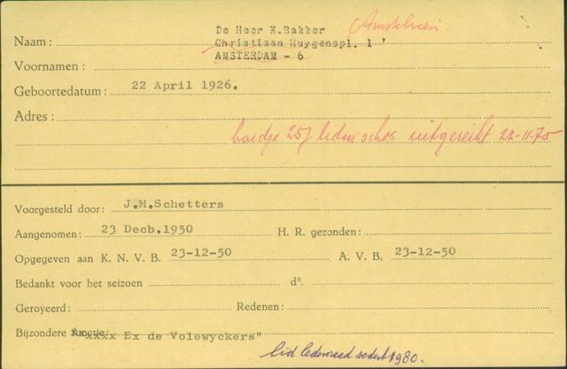 Ledenkaarten (1911-1989) 1950