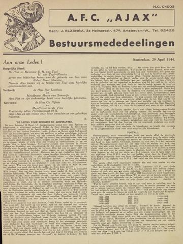 Clubnieuws Ajax (vanaf 1916) 1944-04-29