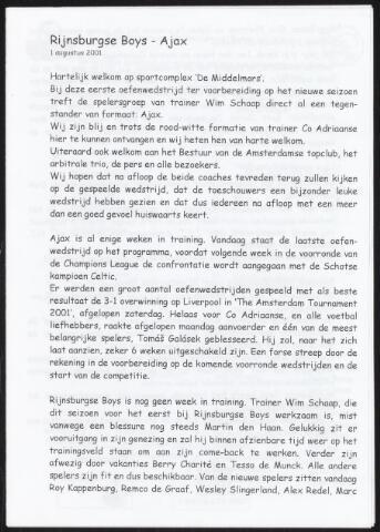 Programmaboekjes (vanaf 1934) 2001-08-01