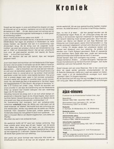 Clubnieuws Ajax (vanaf 1916) 1983-12-01