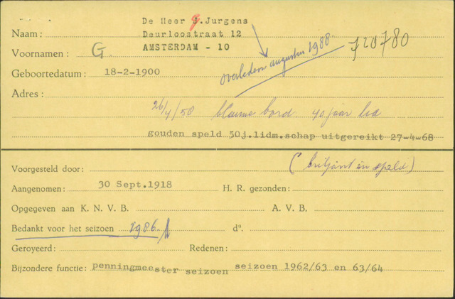 Ledenkaarten (1911-1989) 1918