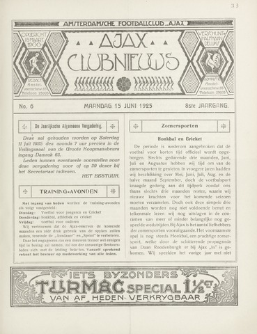 Clubnieuws Ajax (vanaf 1916) 1925-06-15