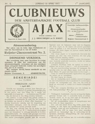 Clubnieuws Ajax (vanaf 1916) 1917-04-05